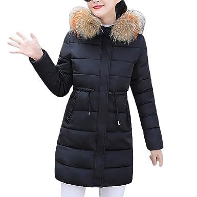 8d8e9c46354 MODOQO Women Long Down Coat with Fur Hood Winter Warm Thick Jacket Overcoat (Black,