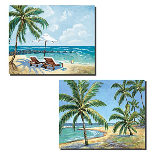 Relaxing Vacation Beach Lounge Chairs Art Prints  Bluegreen  Set Of Two 14X11in Mounted Prints  Ready To Hang