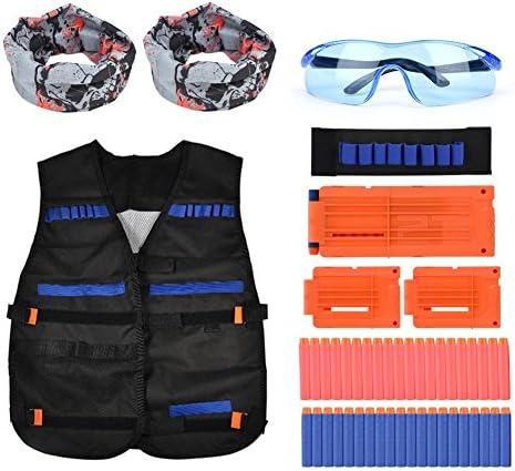 Fdit Taktische West Set Blaster mit Schutzbrillen Handgelenk Band Hood 3 Reload Clips 40 Auflade Darts für Nerf N Streik Elite Series