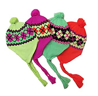 Amazon.com: EarFlap Hat, Acrylic knit fashion. Snowflake