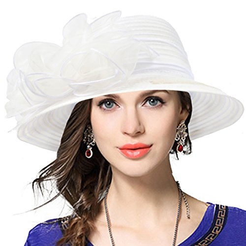 VECRY Lady Derby Dress Church Cloche Hat Bow Bucket Wedding Bowler Hats (White, Medium)