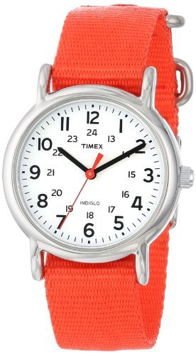 Timex Weekender | Red Strap White Dial 24-Hour Time | Casual Watch T2N870 (Polished Dial White)