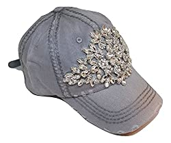 Large Horizontal Crystal Flower Distressed Cap