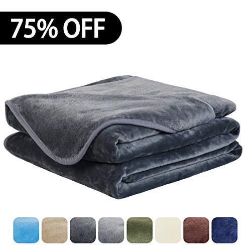 Price comparison product image EASELAND Luxury Super Soft Queen Size Blanket Summer Cooling Warm Fuzzy Microplush Lightweight Thermal Fleece Blankets for Couch Bed Sofa,90 by 90 Inches,Dark Gray