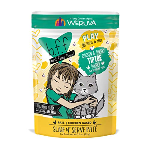 Weruva B.F.Play - Best Feline Friend Paté Lovers, aw Yeah!, Chicken & Turkey Tiptoe with Chicken & Turkey, 3oz Pouch (Pack of 12)