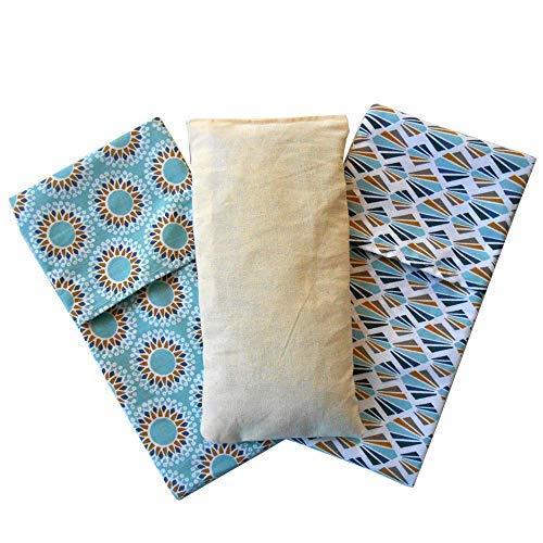 Cuscino per occhi 'Pack Duo - Mandalas' (1 ripieno e 2 federe lavabili) | Semi di lavanda e riso | Yoga, Meditazione, rilassamento, riposo oculare...