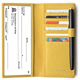 yellow checkbook cover - Genuine Leather Checkbook Cover For Men & Women - Checkbook Covers with Card Holder Wallet RFID Blocking Yellow