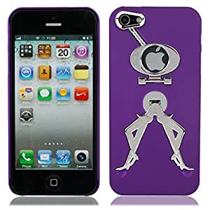 Novelty Hard Back Case with Electroplating Stand for iPhone 5 Purple