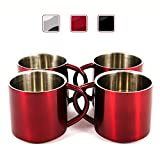xl insulated cup - Red Stainless Steel Double Wall Espresso Cups, XL, Set of 4