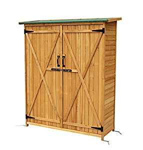 "64"" Fir Wood Shed Garden Storage Shed Wooden Lockers Wood Color + FREE E-Book"