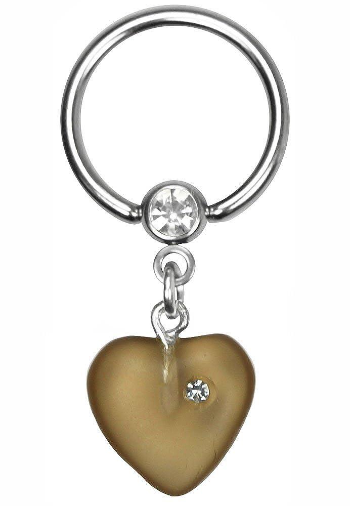 BodySparkle Body Jewelry Brown Dangle Heart Nipple Ring-Steel Captive Ring-14g-1in-25mm