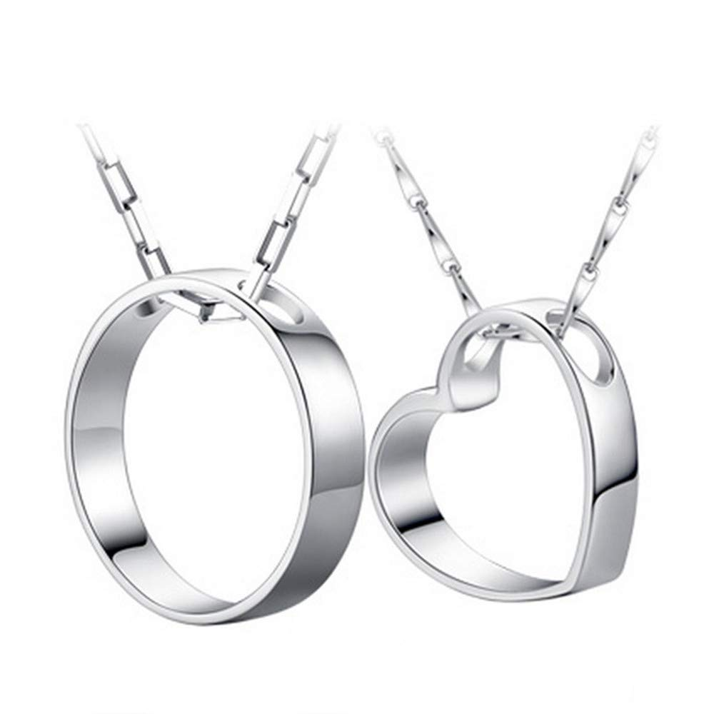 FACOCO Couple 925 Silver Necklace Round with Heart Pendant Fashion Necklace