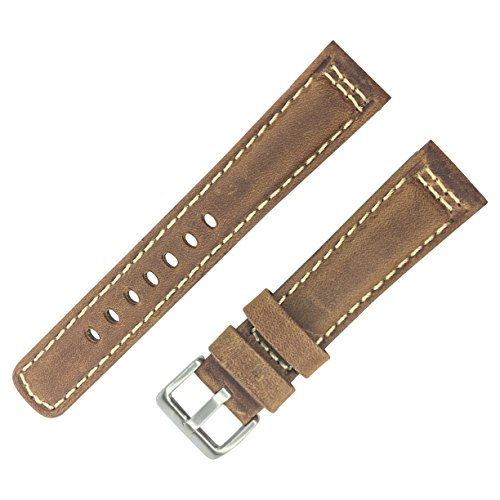 Dakota 19289 Brown Genuine Leather, Padded Watch Band with W