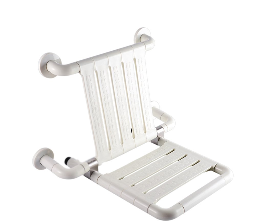 GRJH® バスチェア、折りたたみ式背もたれ付きバスルーム老人男性妊婦シャワーチェア460x320x500mm白、黄色 防水,環境の快適さ ( 色 : 白 )  白 B0799GTDZX