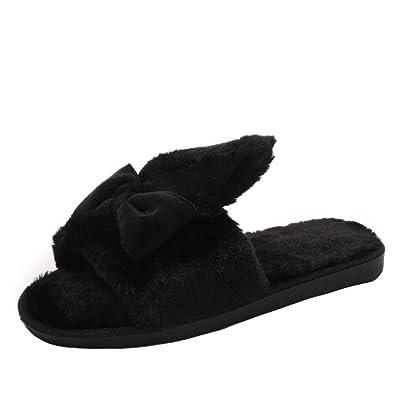Chaussures Claquette, Rawdah Femme Mules Fille Hiver Chaud Fleurs De  Fourrure à La Maison Shoes 4f8050bfcd9d