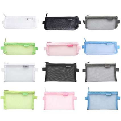 bf0354433514 Hantier 12 Pack Zipper Mesh Pouch File Bags for Cosmetic Makeup Office  Supplies and Travel Accessories, 2 Sizes & 6 Colors