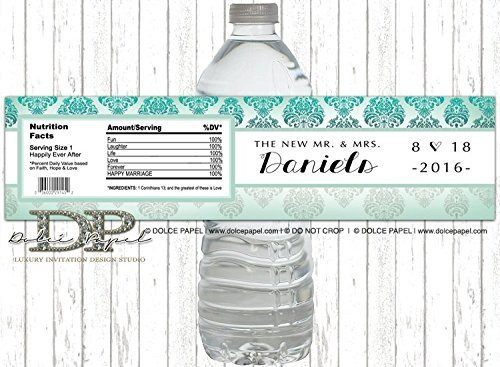 10 Tiffany Teal and White Vintage Damask Mr and Mrs Wedding Water Bottle Labels - Peel-n-Stick ()