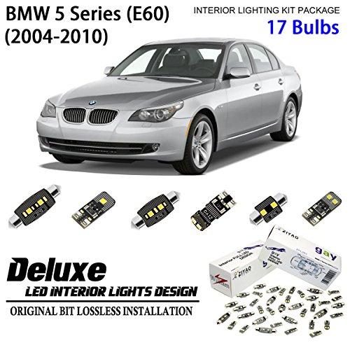 - ZIYO ZPL2560 (17 Bulbs) Deluxe LED Interior Light Kit 6000K Xenon White Dome Light Bulbs Replacement for E60 2004-2010 BMW 5 Series Sedan