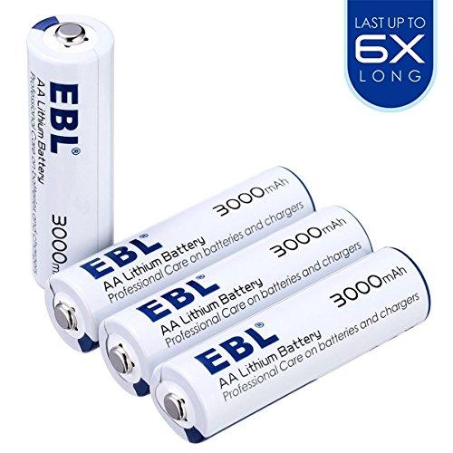 EBL AA Lithium Batterie 1.5V 3000mAh 6xLonglife sofort einsatzbereit 4 Stück