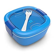 Bentgo Salad Salad Bowl/Salad Box Salad-To-Go Lunch Box with Cutlery, Dressing Container and Extra Sections blue by Bentgo