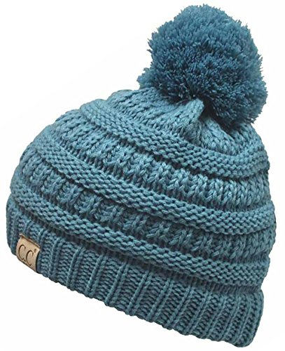 er Hat Warm Knit Slouchy Toddler Kids Pom Beanie - Denim ()