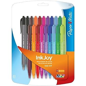Paper Mate Inkjoy 100RT Retractable Ballpoint Pen, Medium, Fashion Colors, Set of 20 (1879331)