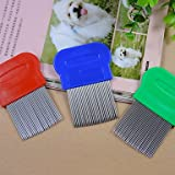 HYUJIKOF2 Long Needle Flea Comb for Pets Dogs Assorted Colors