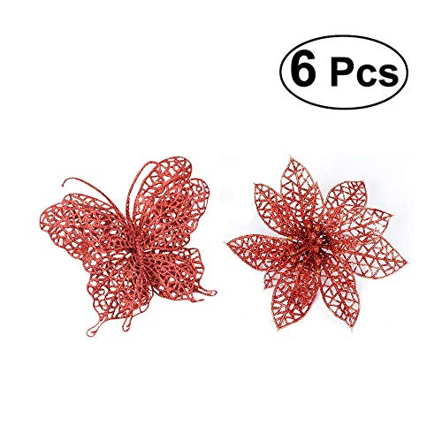 (TiTa-Dong Poinsettia Flowers and Butterfly Christmas Ornaments - Pack of 12 Glitter Artificial Hollow Flowers Wedding Party Holiday Xmas Tree Decoration - Red,6 Flowers and 6 Butterflies)