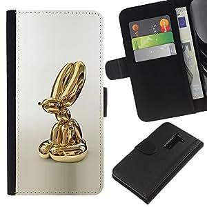 EJOY---La carpeta del tirón la caja de cuero de alta calidad de la PU Caso protector / LG G2 D800 / --Estatua de oro Globo Perro Animal