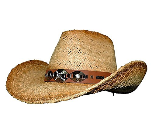 Natural Stained Woven Straw Western Cowboy Hat With Accented Band
