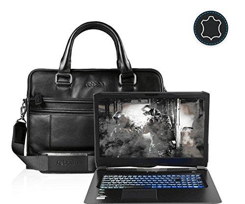 reboon Echt-Leder Laptop-Tasche in Schwarz Leder für HYRICAN NOT01573I7 7700HQ 17 3 | 17 Zoll | Notebooktasche Umhängetasche | Damen/Herren - Unisex | Premium Qualität Schwarz Leder SpaIJg0E
