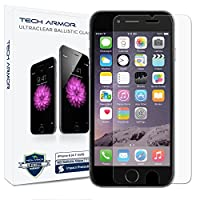 Tech Armor Apple iPhone 6, 6s, iPhone 7, iPhone 8 Ballistic Glass Screen Protector, Premium Tempered Glass with 99.99% HD Clarity and 3D Touch Accuracy, Clear [1-Pack]