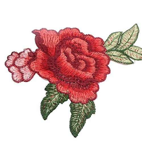Franterd 5PC DIY Roses Floral Collar Bouquet Boho Embroidered Sew On Patches Stitching Sticker Clothes Badge Transfer Supplies Crafts (Cheap Diy Family Halloween Costumes)