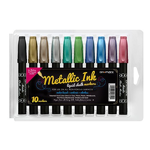 10 Pack Chisel Tip Metallic Chalk Markers, Great on Whiteboards Windows Mirrors Glass Surfaces and Non-porous Chalkboards - Bullet or Chisel Tip, Liquid Ink, Dust-Free, Non-toxic Water-based]()
