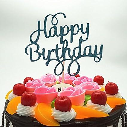 Amazon.com: 2 unidades Happy torta de cumpleaños Topper ...
