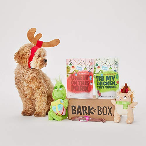 BarkBox Classic Box-1 Medium Dog Grinch Holiday Limited Edition Gift Plush Toys, Chew Toys, All-Natural Lamb Treats, All-Natural Duck Treats and Chew Made in The USA, Plus Bonus Dog Wearable