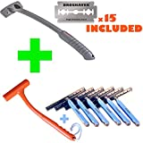 Bro Shaver + Razorba War Hammer + Razorba G.O.A.T. Razors (6-pack). Back Hair Shaver Elite Package