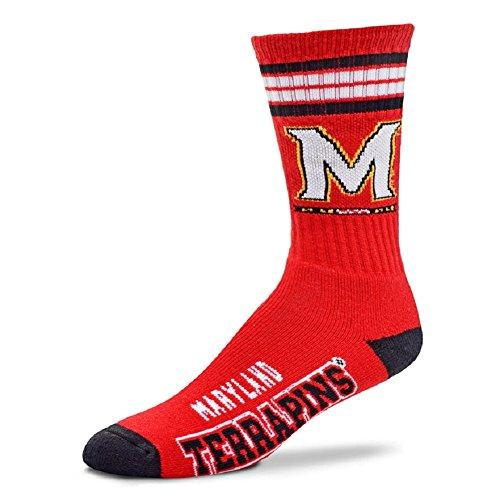For Bare Feet NCAA 4 Stripe Deuce Crew Men Socks-Maryland Terrapins-Large