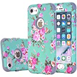 iPhone 8 Case, iPhone 7 Floral Case, Harsel Vintage Floral Flowers Shockproof 3 in 1 Rugged Hybrid Armor Silicone TPU & Plastic Rugged Heavy Duty Bumper High Impact Durable Case - Gray