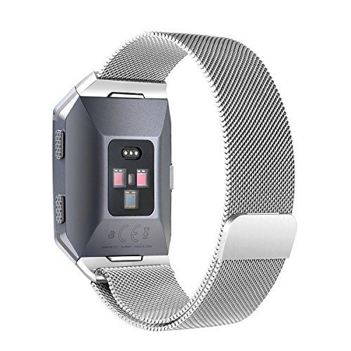 bayite Stainless Steel bands for Fitbit Ionic Small Large, Milanese Loop Metal Replacement Strap with Unique Magnet Lock Accessories for Fitbit Ionic