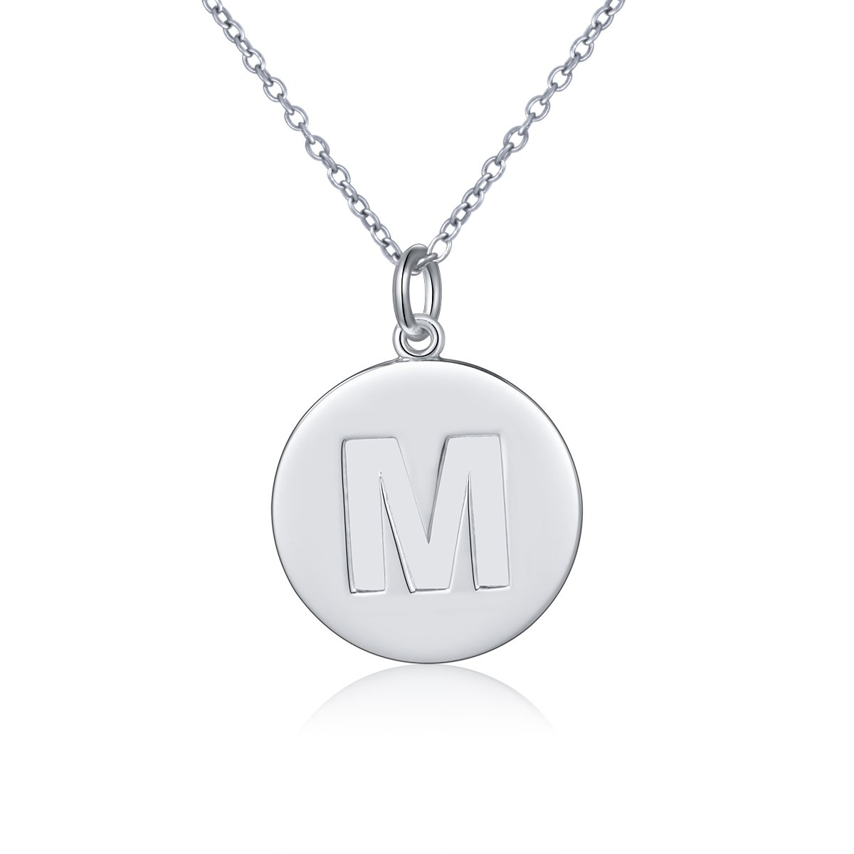 DAOCHONG S925 Sterling Silver Initial Disc Necklace Alphabet Letter Pendant Necklace M