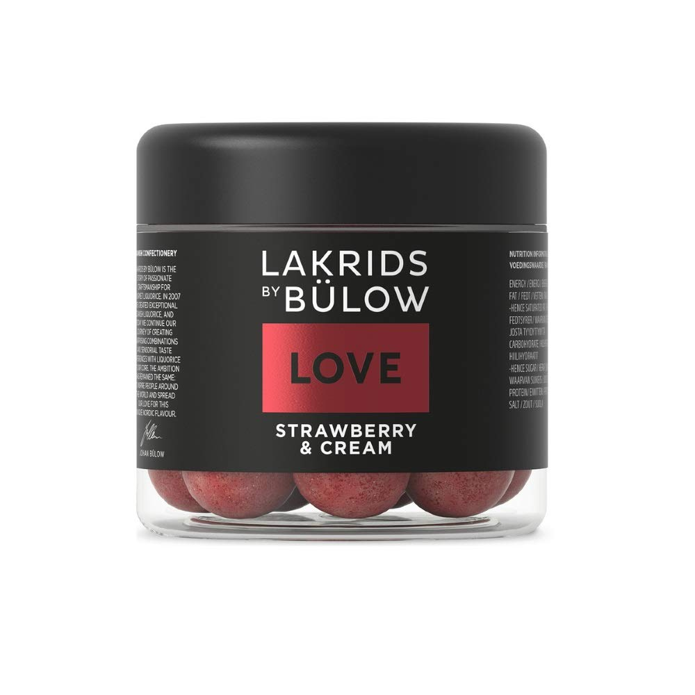 Lakrids by Bülow Love Strawberry & Cream 125g- Danish Confectionery Licorice by Chelsea Market Baskets (Image #1)