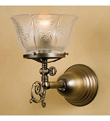 Meyda Tiffany Custom Lighting 36617 Auburn Wheat Gas 1-Light Wall Sconce, Antique Brass Fish with Wheat Patterned Clear Glass Shade