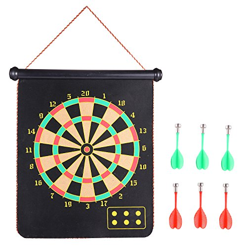 Roll-up Magnetic Dart Board Set, Rabosky Fabric Double Sided Hanging Rubber DartBoard with 6PCS Dart Flights and 10PCS Replacement Dart-Tip Magnetic Board Set