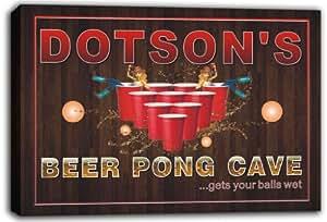 scqr1-1760 Dotson Pong Bar de cueva es de jarra de cerveza con texto en inglés sobre bastidor Impresión de lienzo