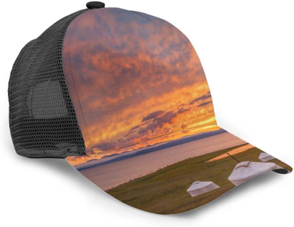 Baseball Cap Beautiful Ginger Sunset On Hovsogol Lake Adjustable Mesh Unisex Baseball Cap Trucker Hat Fits Men Women Hat