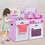 Costway Portable Childs Kitchen Playset Kids Role Play Cooking Toy Food Cooker Pans Xmas Christmas Gift Pink (With kettle)