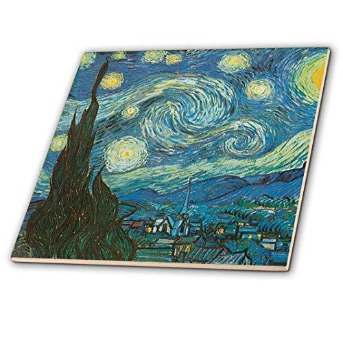 3dRose Starry Night by Van Gogh Vintage - Ceramic Tile, 12