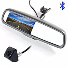 Koen 4.3'' Built-in Bluetooth Rearview Mirror Handsfree Car Kit With 2-way Video Input Auto Adjust Brightness With Rear View Camera