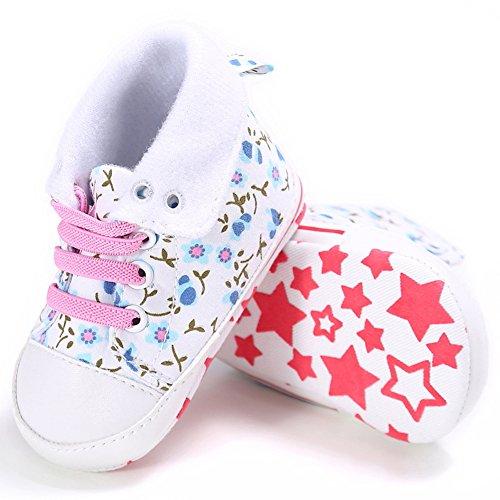 Botínes bebé Botínes para bebé que aprende caminar 0-18 meses Botínes de lona cómodo para bebé Suela antideslizante Luerme Blanco